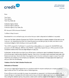 Debt Validation Letter Template from credit.org