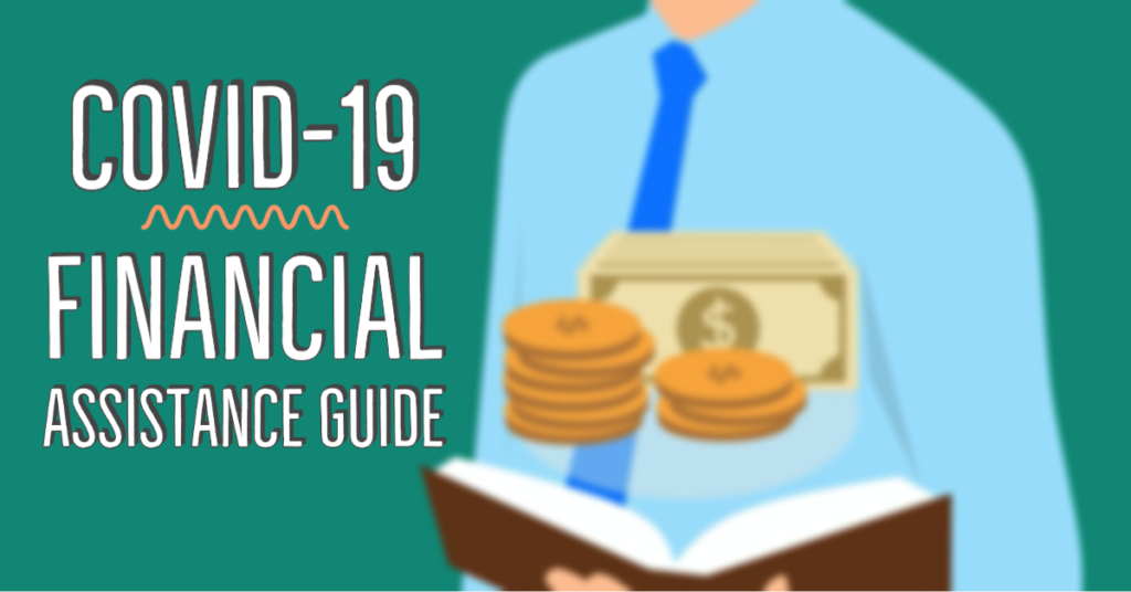 Covid-19 financial assistance guide with graphic of man and money